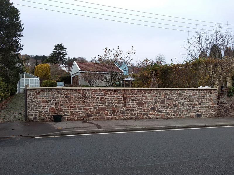 Boundary stone wall rebuild, Long Ashton, Bristol